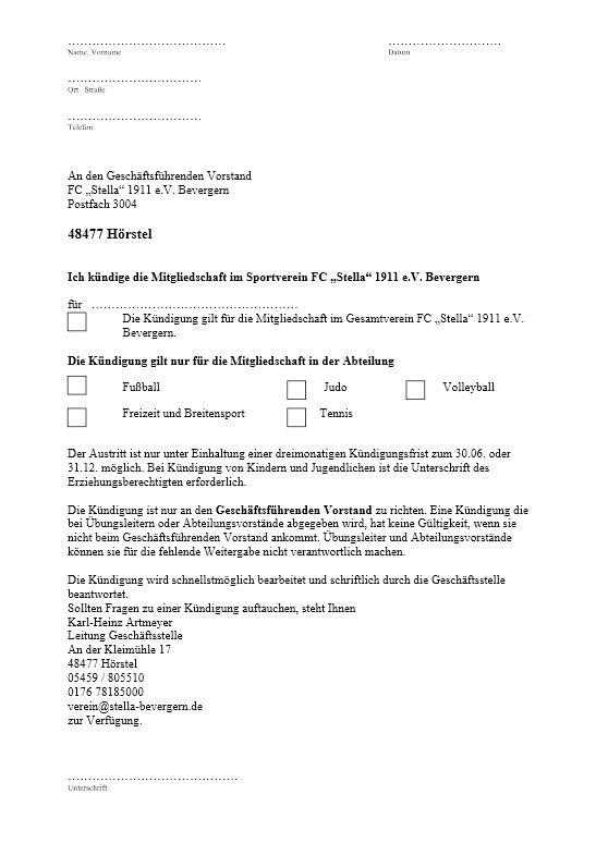 Kündigung fußballverein muster mitgliedschaft Fußball Vereinswechsel